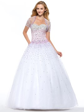 Luxurious Ball Gown Floor-Length Lace-Up Quinceanera Dress With Jacket/Shawl