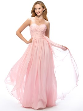 Concise A-Line Sweetheart Full Length Ruched Prom Dress