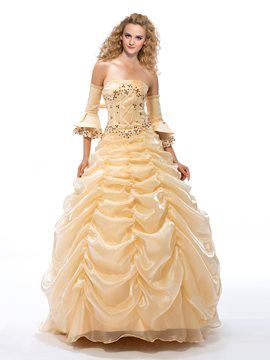 Luxurious Ball Gown Ruched Beading Quinceanera Dress
