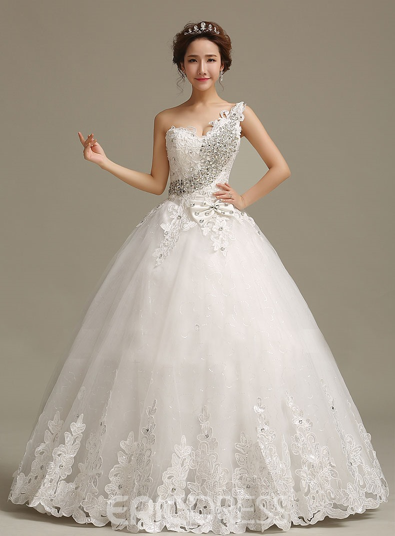 Charming Beading Rhinestone Appliques Wedding Dress