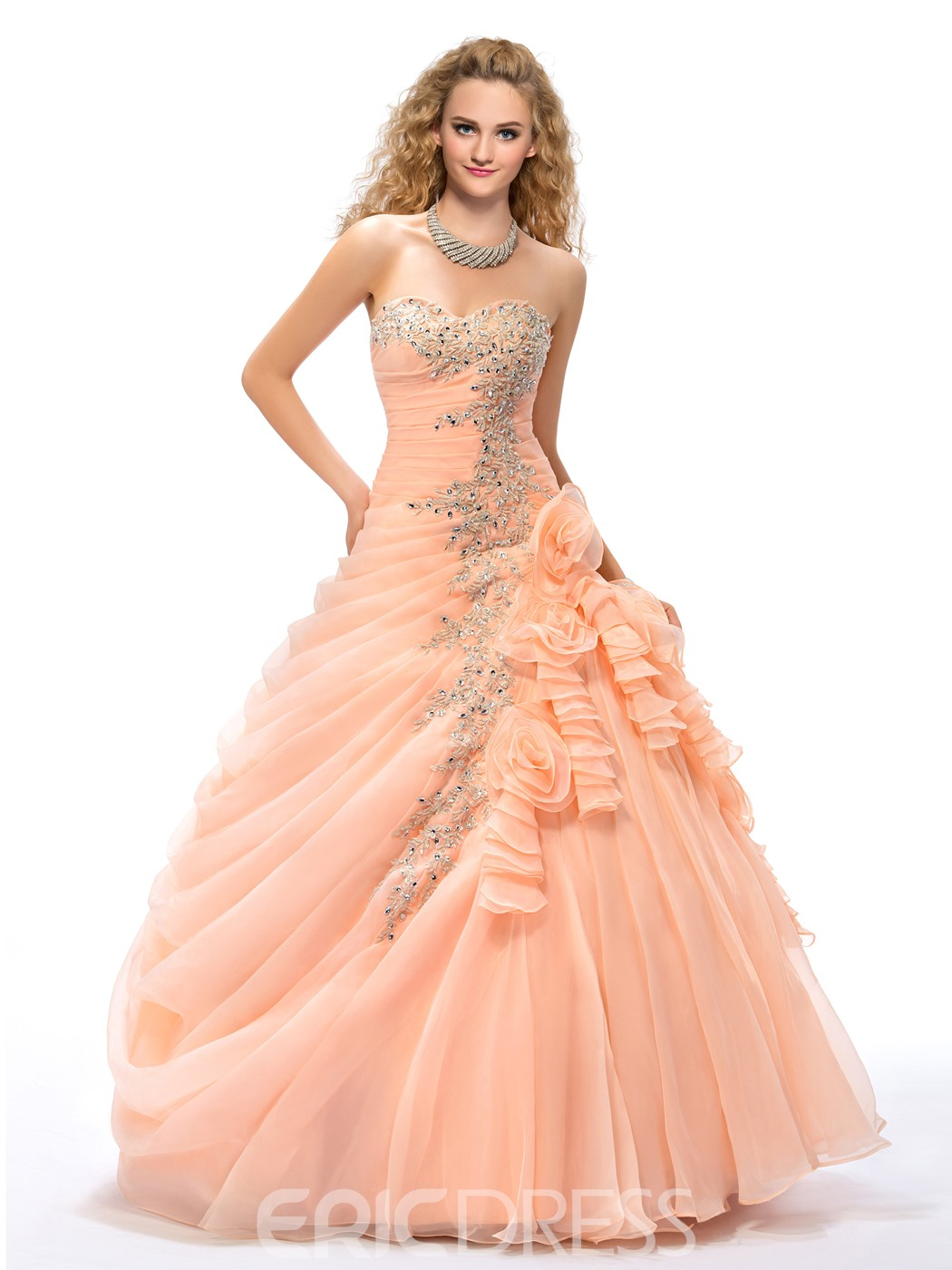 be7a07717af Ball Gown Appliques Flowers Floor-length Quinceanera Dress 11031188 ...
