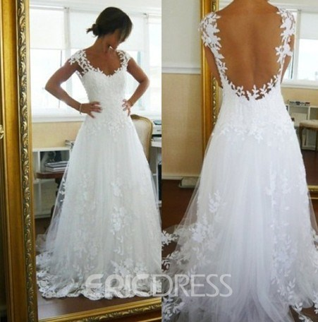 Fabulous A-Line Backless Appliques Cap Sleeves Wedding Dress