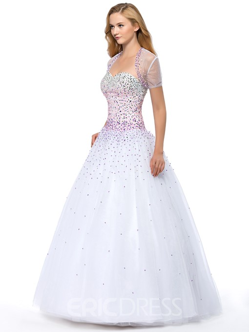Ericdress Lace-Up Ball Quinceanera Dress With Jacket/Shawl