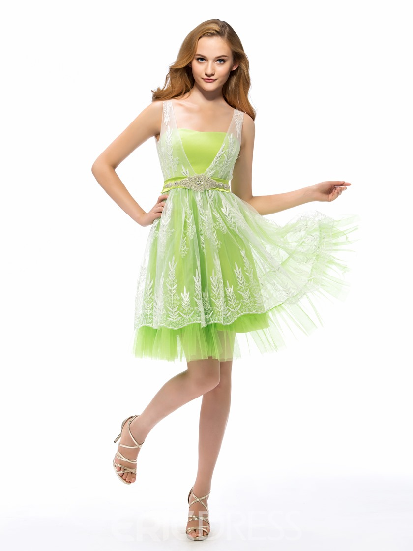 Ericdress A-Line Square Neck Lace Short Homecoming Dress