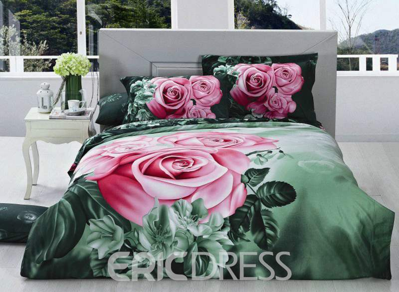 3D Pink Rose Printed Cotton Full Size 4-Piece Green Bedding Sets/Duvet Covers