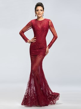 Sexy Lace Jewel Trumpet Long Sleeves Evening Dress