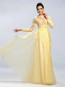 A-Line Jewel Long Sleeves Hollow-Out Evening Dress