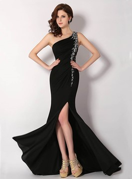One-Shoulder Side Split Beaded Evening Dress