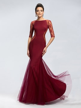 Classy Trumpet Tulle Zipper-Up Floor-length Evening Dress