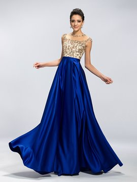 Classy A-Line Beading Applique Floor Length Evening Dress