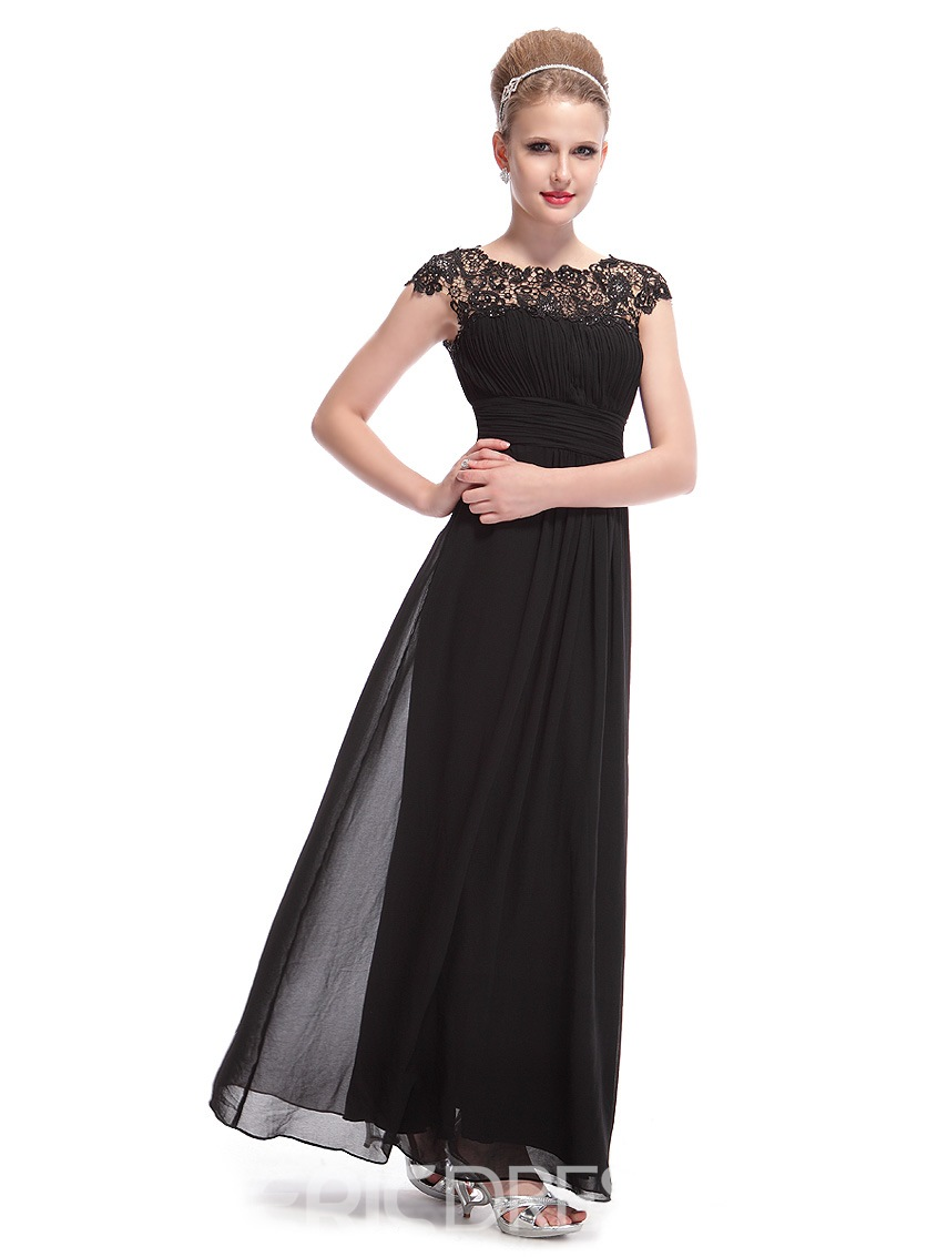 Superior A-Line Cap Sleeves Open Back Evening Dress