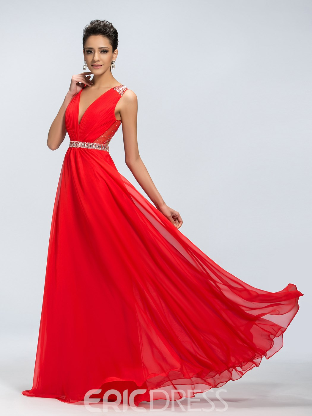 Epidemic Deep V-Neck Open Back Chiffon Prom Dress
