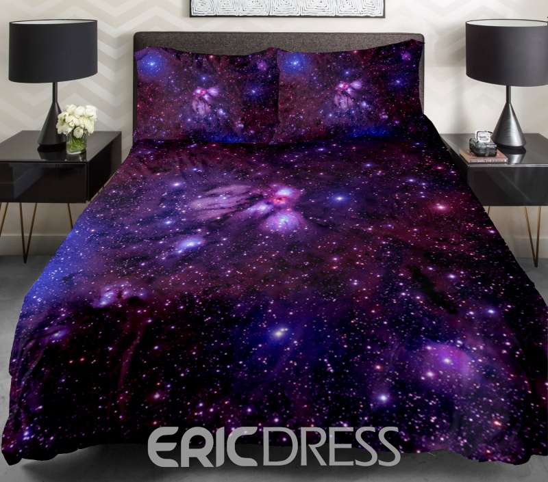 Vivilinen Amazing Shining Purple Galaxy Print 4-Piece Duvet Cover Sets