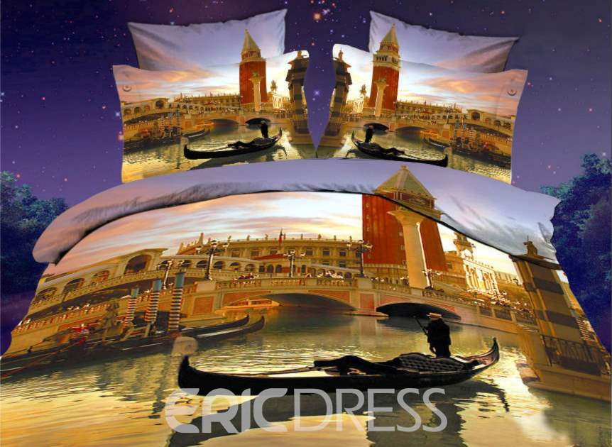 A Little Boat and Watery City 3D Print 4-Piece Duvet Cover Sets