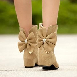 Korean Sweet Bowknot Warm Ankle Boots
