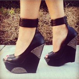 Ericdress Chic Black Peep-toe Wedge Sandals