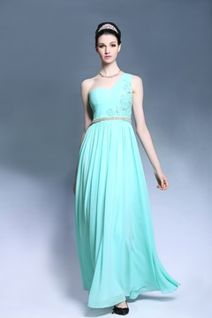Latest One Shoulder Lace Back Pearls Evening Dress