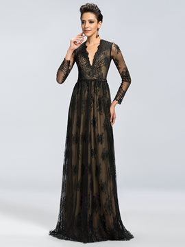 Charming Long Sleeves V-Neck Lace A-Line Mother of the Bride Dress