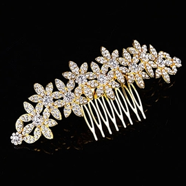 Amazing Floral Shaped Full Rhinestone Wedding Tiara / Comb