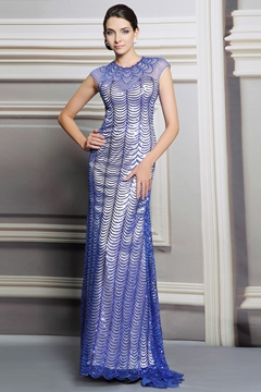 Classy Beadings Sequin Floor Length Evening Dress