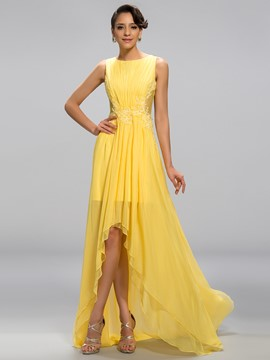 Shining A-Line Scoop Neck Asymmetry Hollow Out Evening Dress