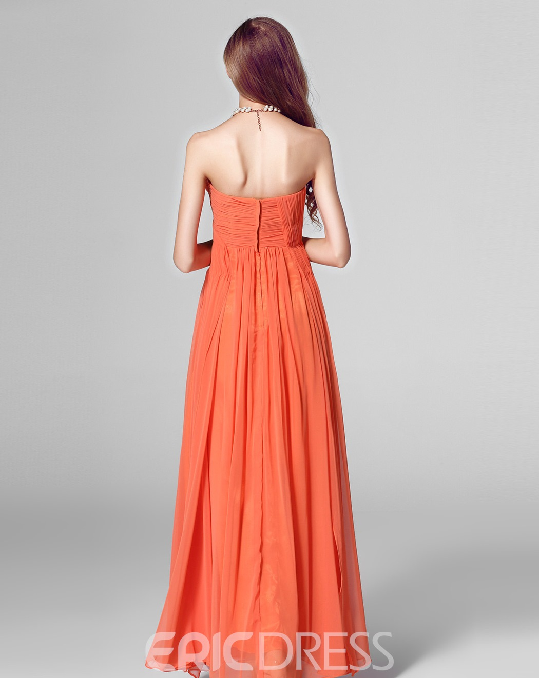 Classy Ruched Sweetheart Matching Color Floor Length Evening Dress