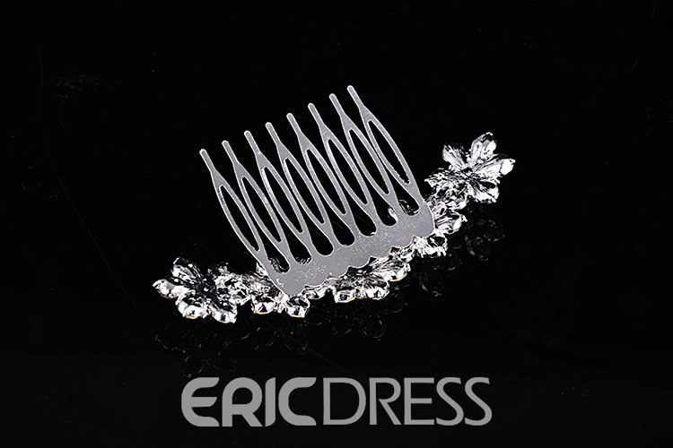 Concise Floral Rhinestone with Alloy Wedding Tiara / Comb