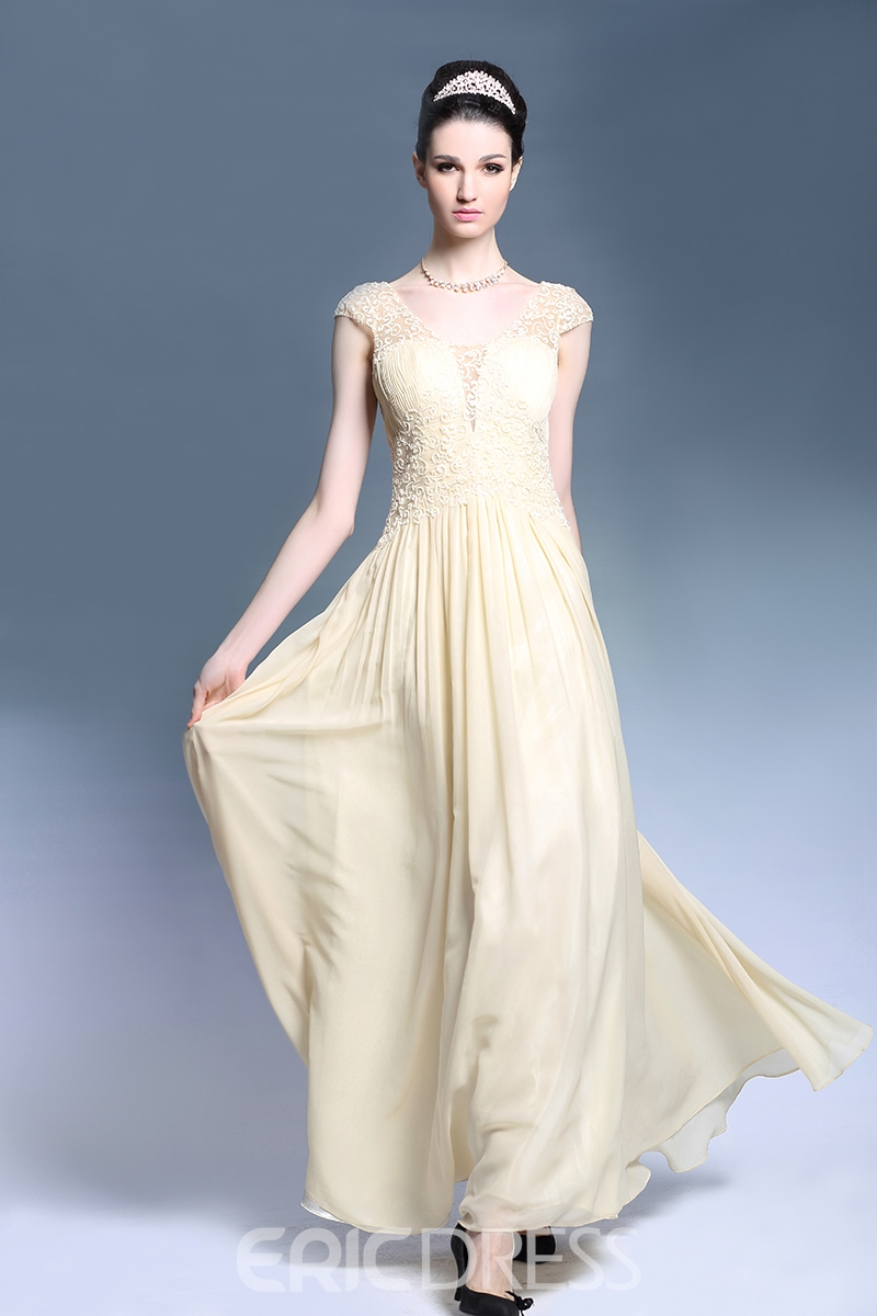 Popular Cap Sleeves Floor Length Lace Chiffon Evening Dress