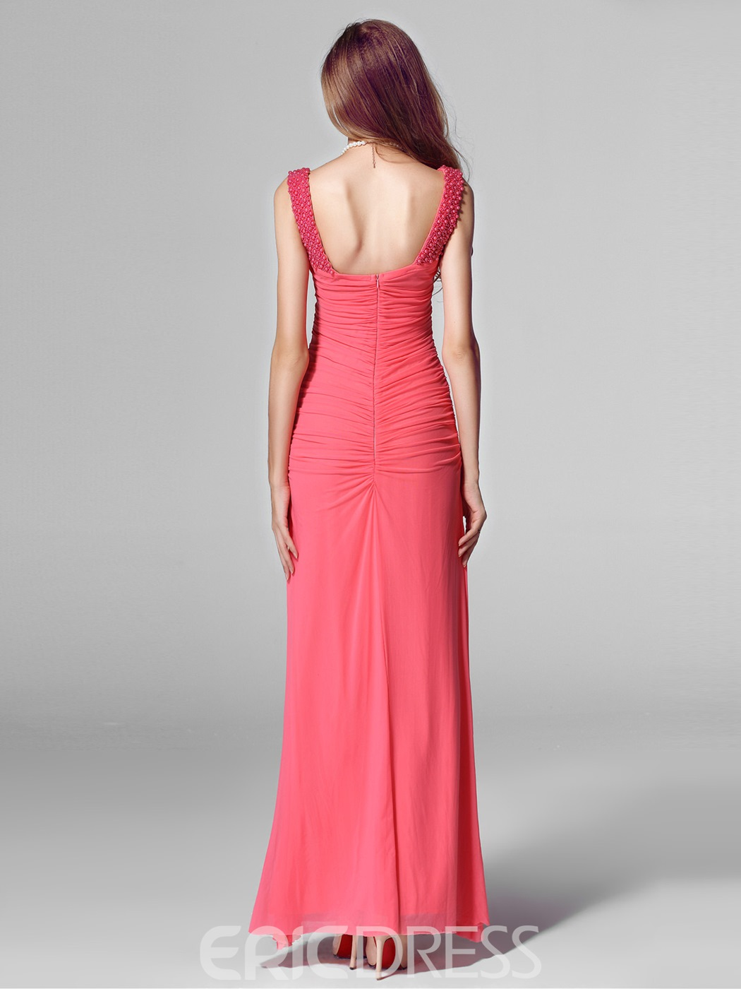 Sexy Draped V-neck Sheath Red Long Evening Dress
