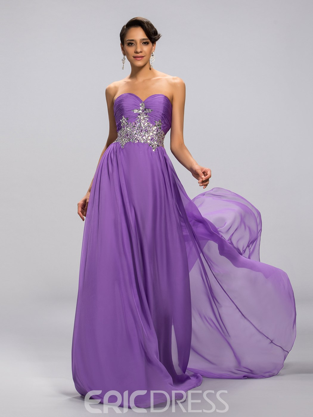 Classy A-Line Sweetheart Empire Crystal Prom Dress