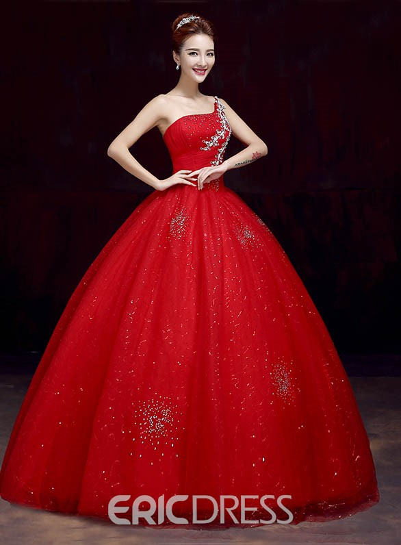 Classy Ball Gown One Shoulder Beading Floor Length Wedding Dress