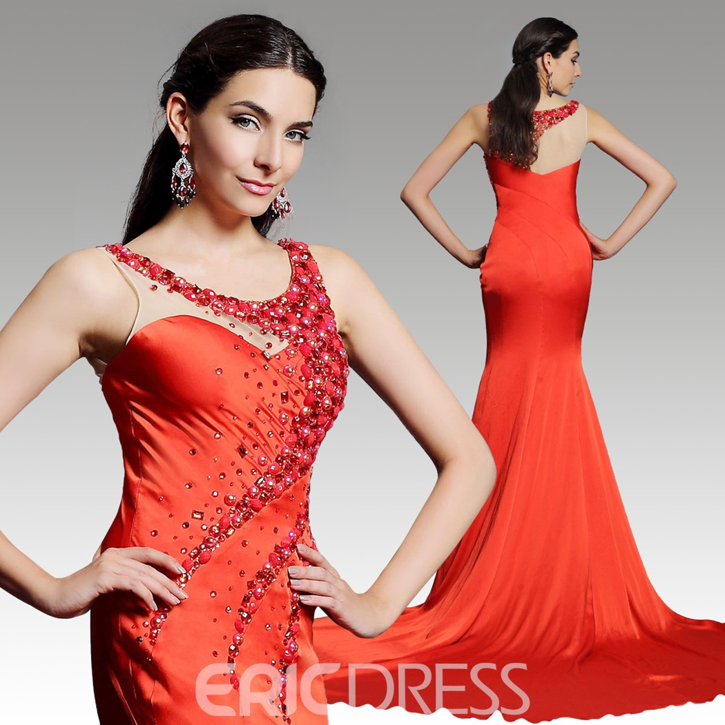 Sexy Rhinestone Beaded Jewel Neck Mermaid Chapel Train Evening Dress