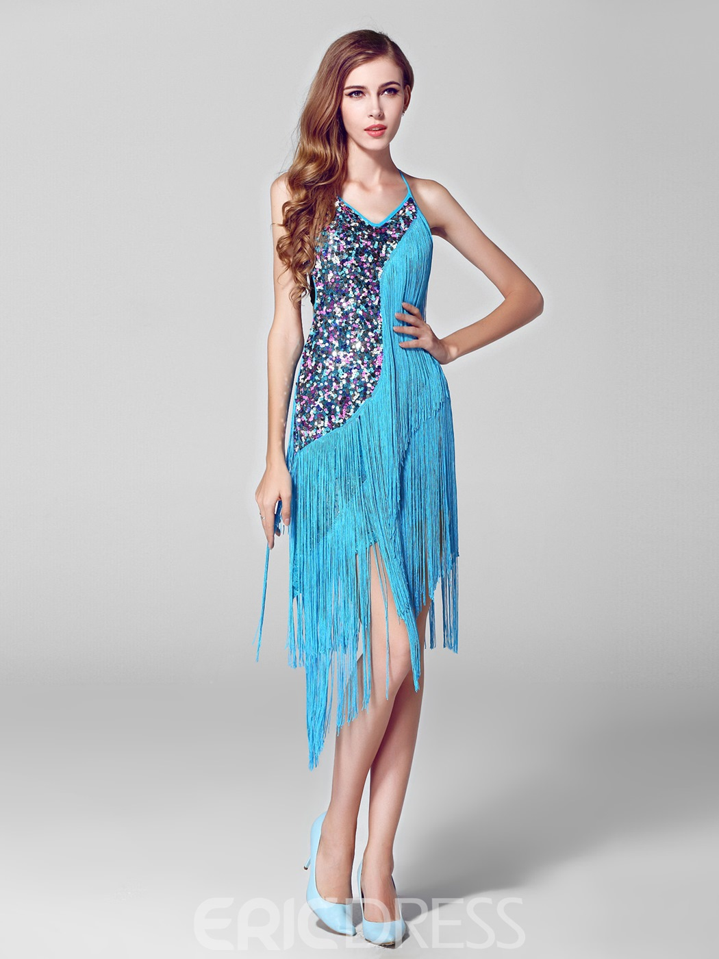 Charming Spaghetti Strap Tassels Sequins Asymmetry Party Dress