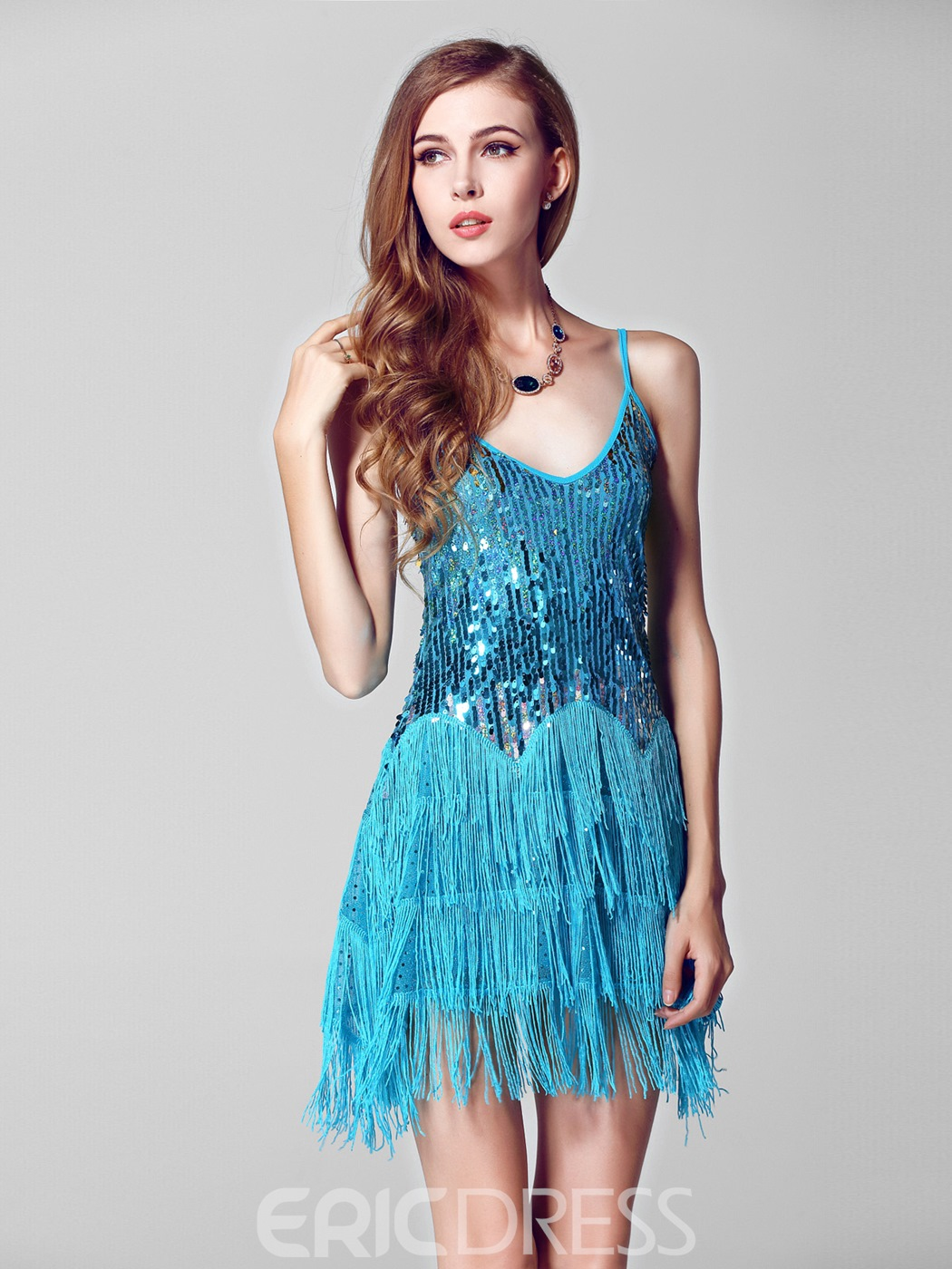 Charming Spaghetti Strap Tassels Sequins Short Party Dress