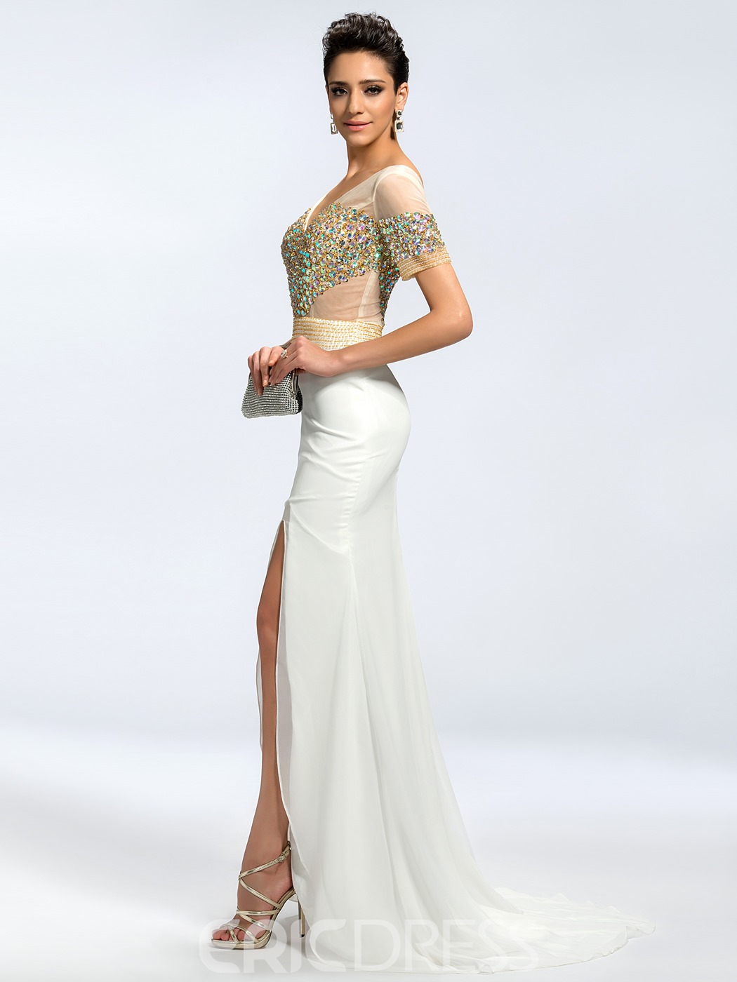 Charming Short Sleeves Beading V-Neck Split-Front Mother of the Bride Dress