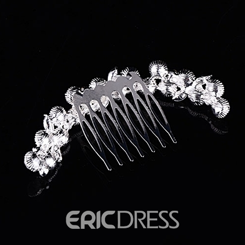 Concise Floral Rhinestone Alloy Wedding Tiara