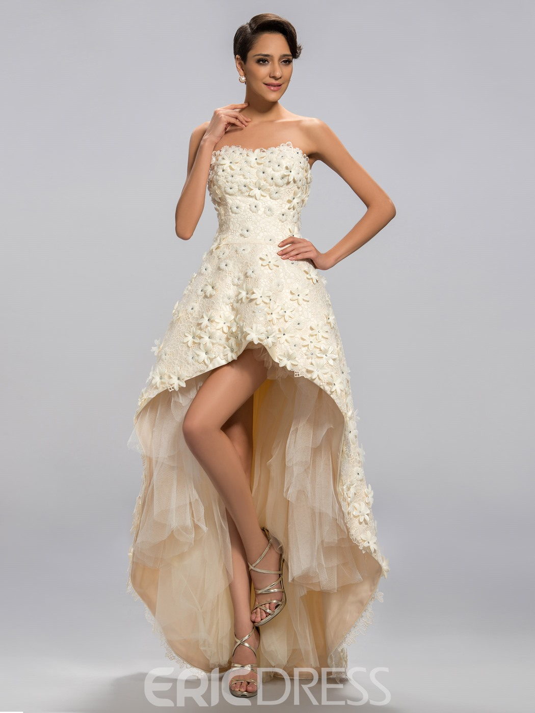 Vogue Sweetheart Asymmetry Flower Applique Prom Dress