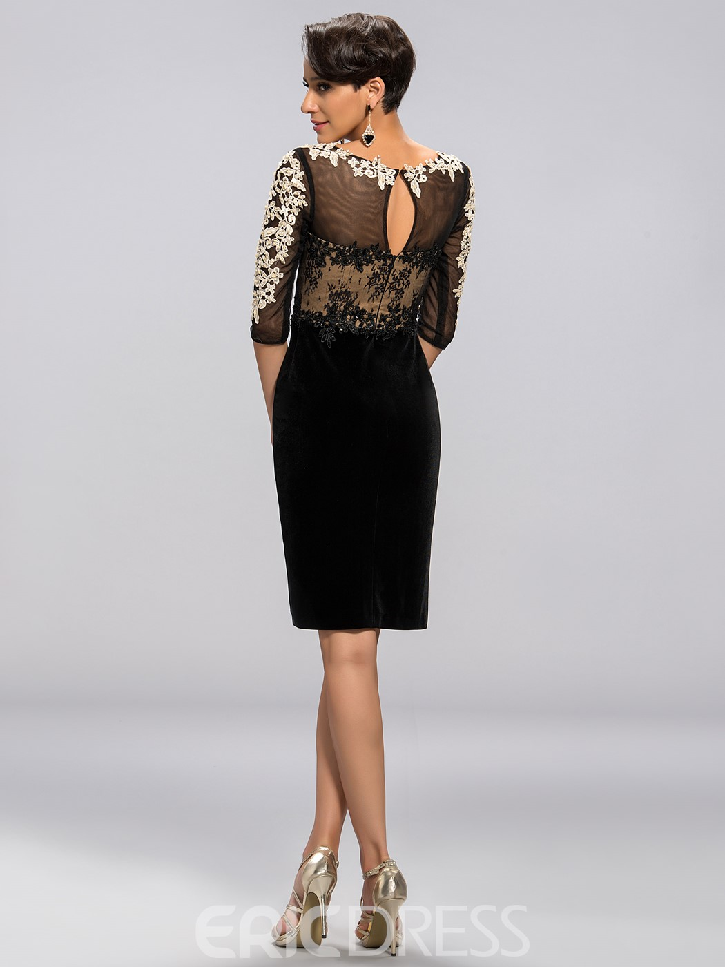 Classy Sheath Scoop Half-Sleeves Applique Knee-Length Mother Dress