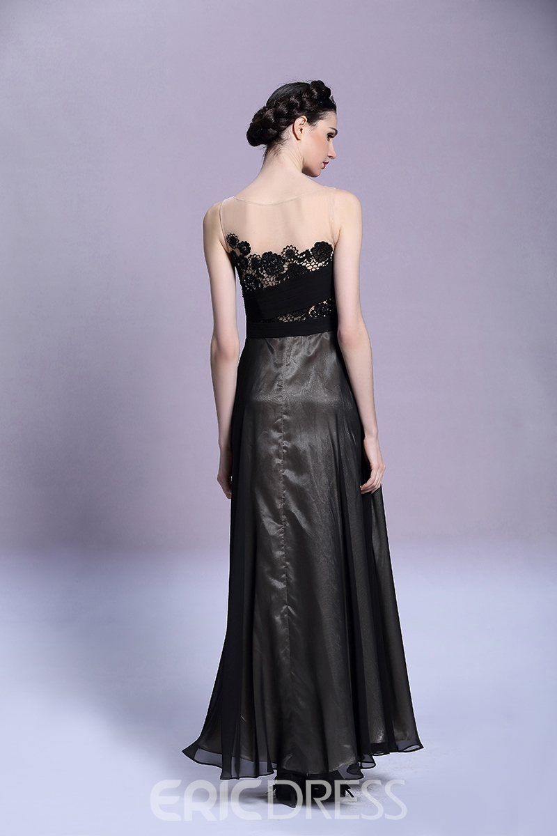 A-Line Sheer Lace Neck Evening Dress