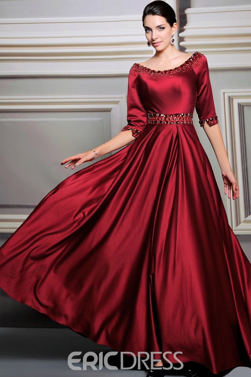Classy A-Line Scoop Half Sleeves Beading Evening Dress