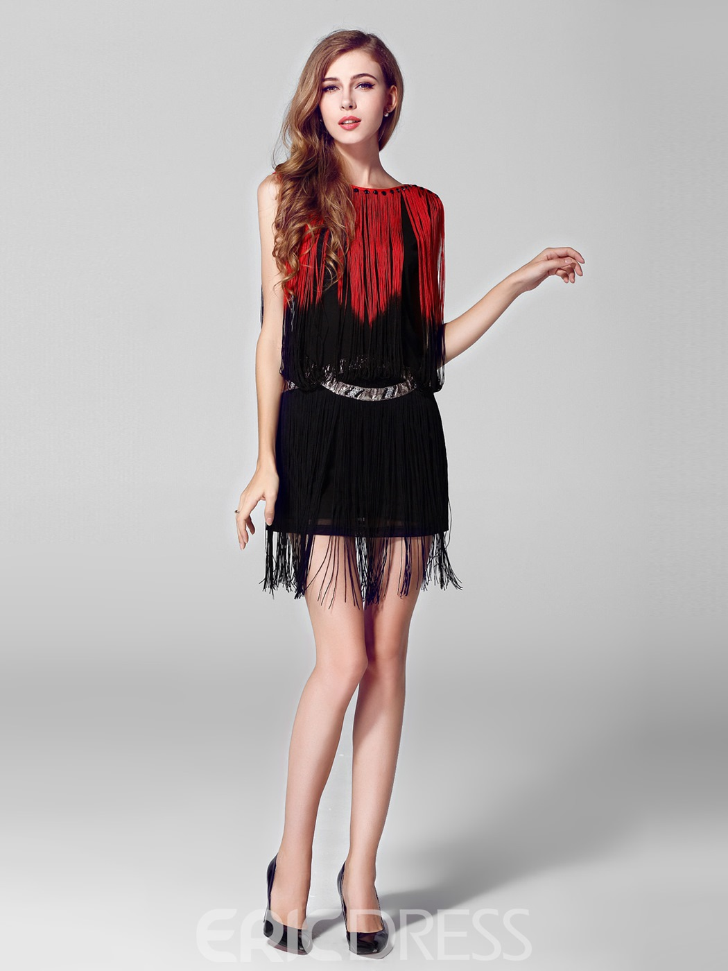 Charming Bateau Tassels Sleeveless Short Party Dress