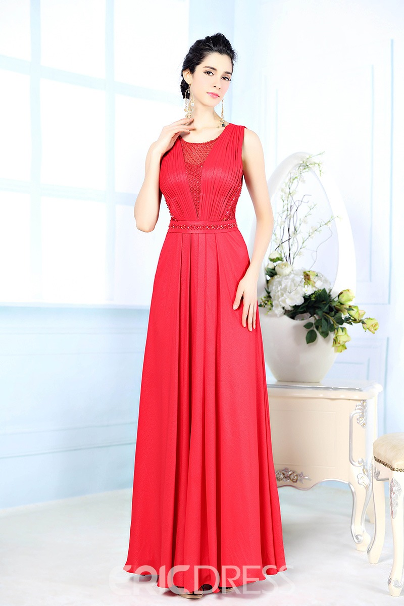 Classy Jewel Neck Pleated A-Line Floor Length Evening Dress