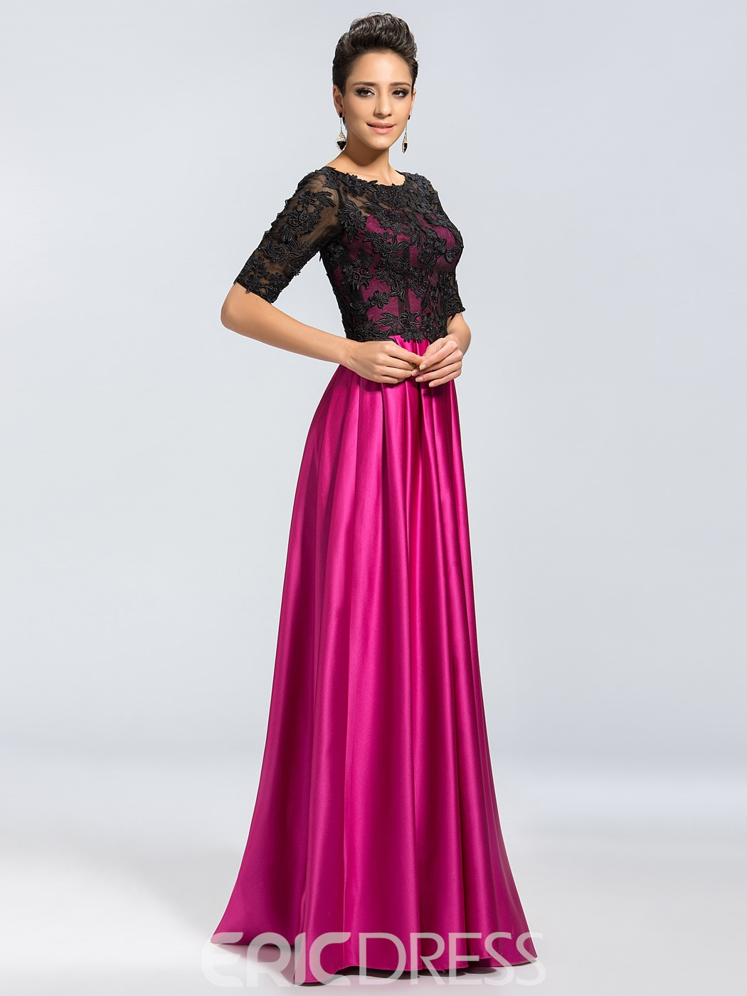 Charming Half Sleeves Appliques Scoop Neck Mother of the Bride Dress