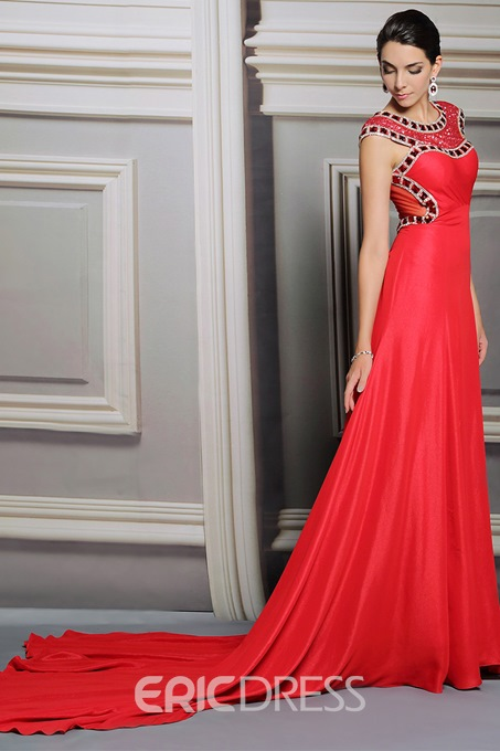 Sexy Beading Sequin Court Train Evening Dress