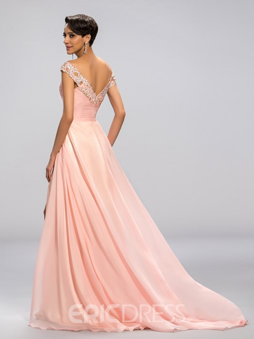 Sexy Beaded Off-The-Shoulder Split-Front Long Evening Dress