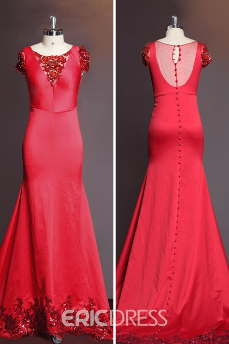 Glamorous Sleeves Beading Sequin Appliaues A-Line Floor Length Evening Dress