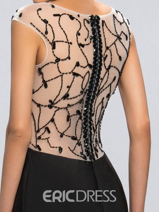 Sexy Scoop Neck Beaded See-through Back Mother of The Bride Dress