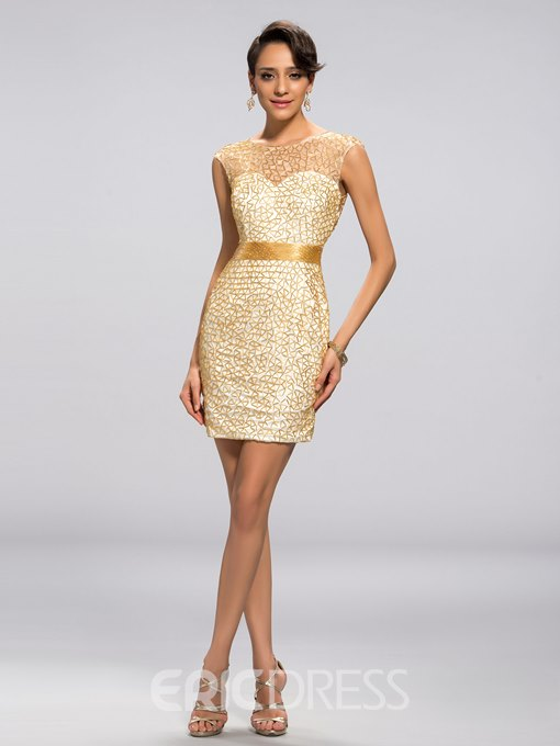 Luxurious Beading Sexy Back Column Short Cocktail Dress