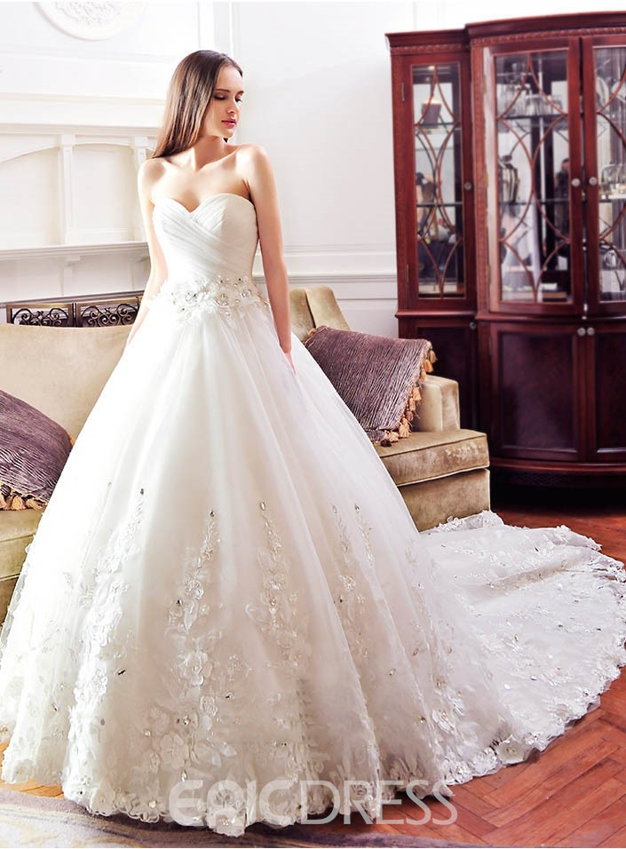 Ericdress Sweetheart Appliques Flowers Cathedral Train Wedding Dress