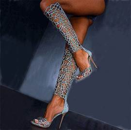 Hollow-out brillant genou haut Stiletto sandales